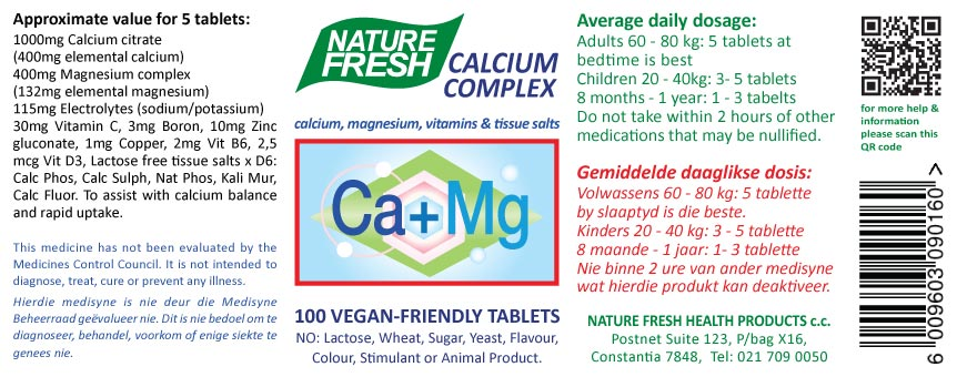Calcium Magnesium tablets label