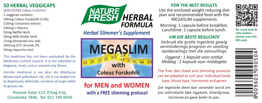 Megaslim Tablets label