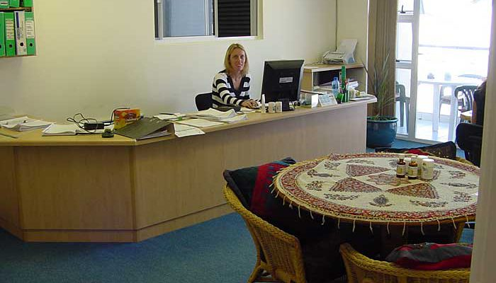 Michelle managing the front desk.
