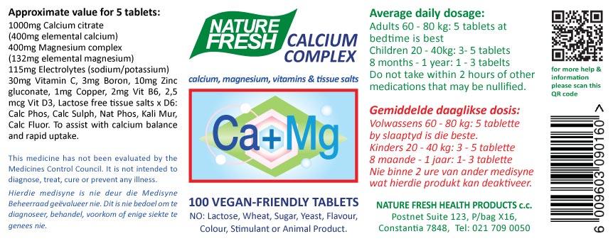 Calcium Magnesium tablets label