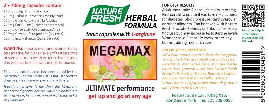 Megamax label enlarged