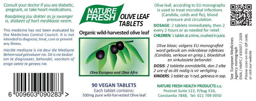 Olive Leaf Tablets label